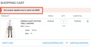 Error message for coupon not matching specific condition