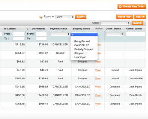 Modified order grid shows 2 separate statuses for Payment and Shipping