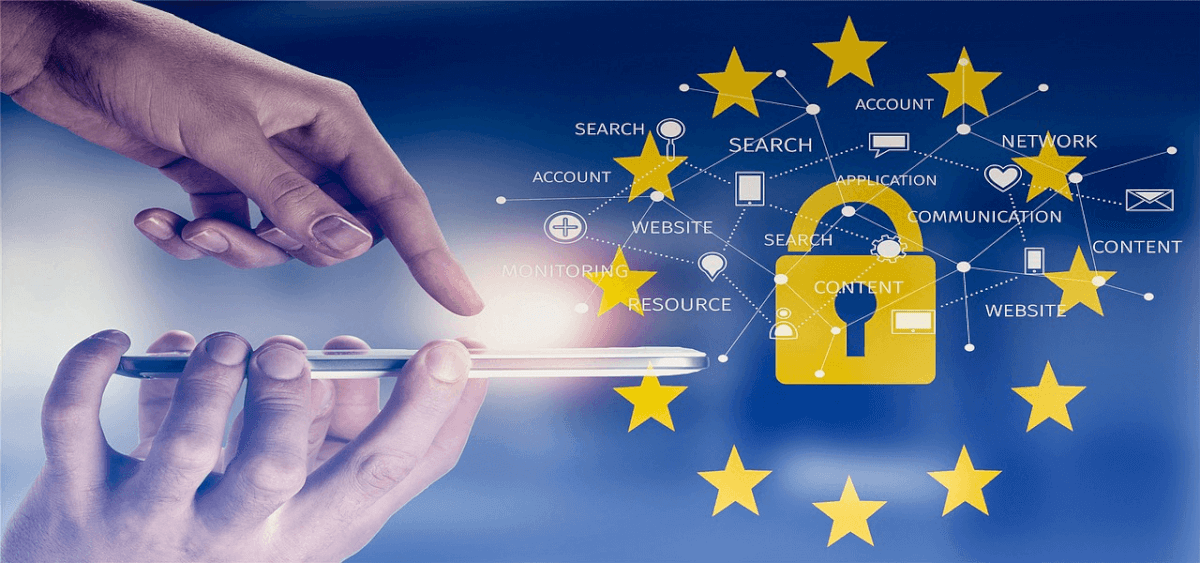 Image of a touch pad against a backdrop representing GDPR regulations