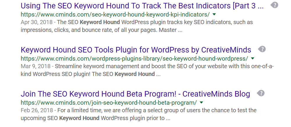 A Google search result for the SEO Competitor Analysis Keyword Hound tool