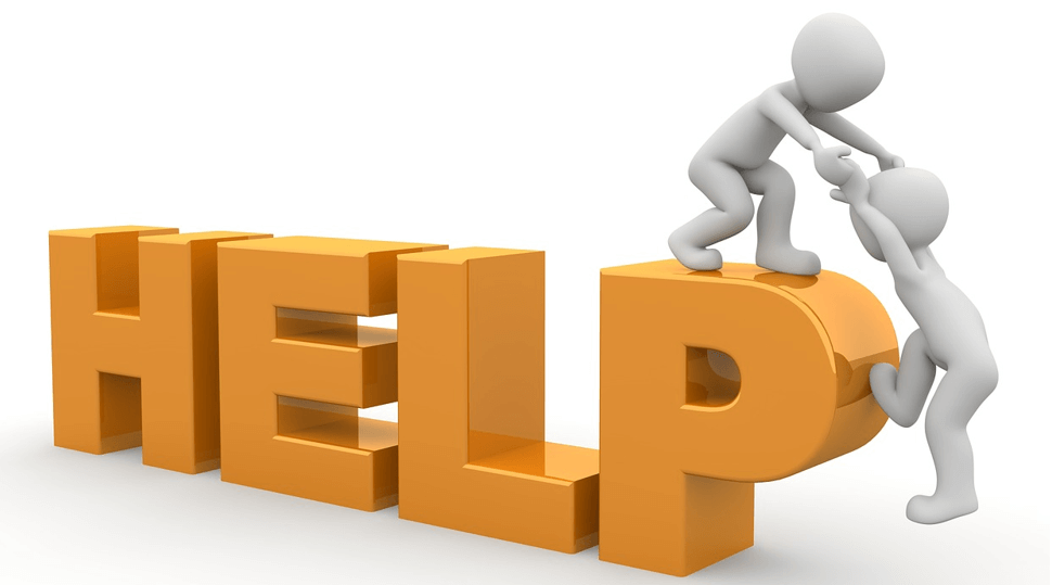 """Image of a figure helping another climb onto the word """"HELP"""""""