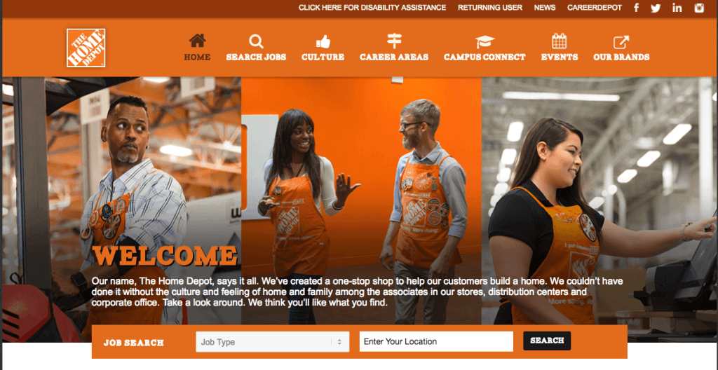 The Home Depot uses WordPress to create an attractive careers page
