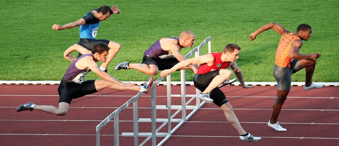 Image of a men's hurdle race