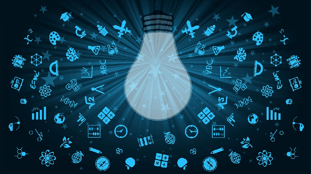 Graphic of a lightbulb surrounded by icons used to represent eLearning subjects