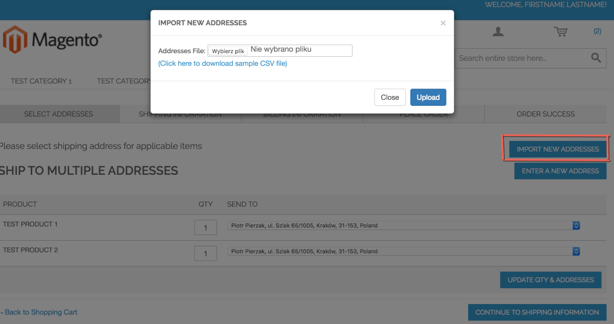 Popup screen with csv address file import shown during checkout