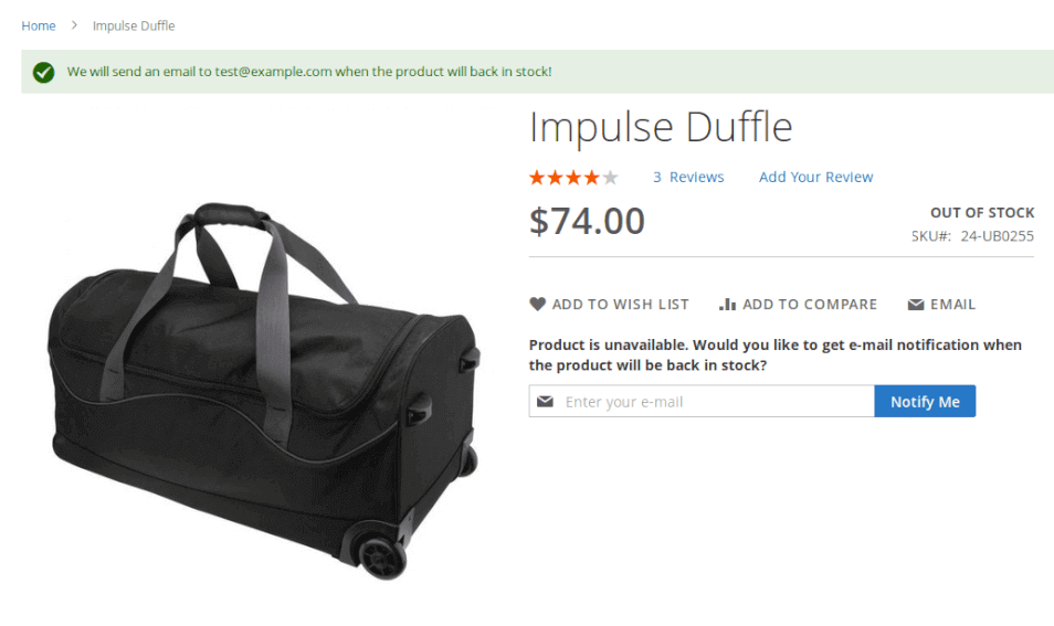 Product page showing Back in Stock field