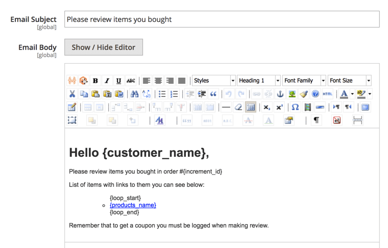 The email template setting screen
