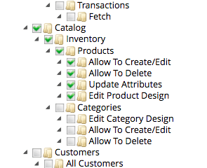 Role allowed to edit products, but not categories