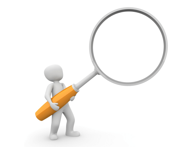 Graphic of a 3D model holding a magnifying glass