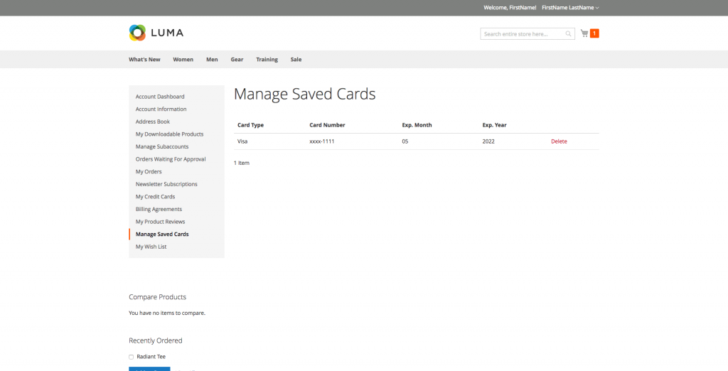 Manage Saved Cards