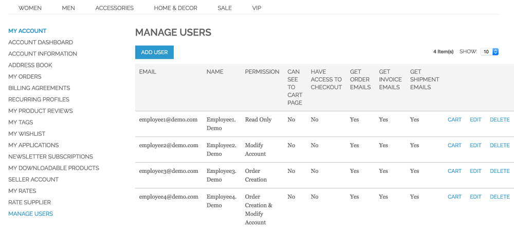 An example of the Manage Users page from the CreativeMinds Multi-User Extension for Magento