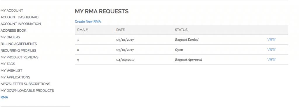 Customer Account RMA list