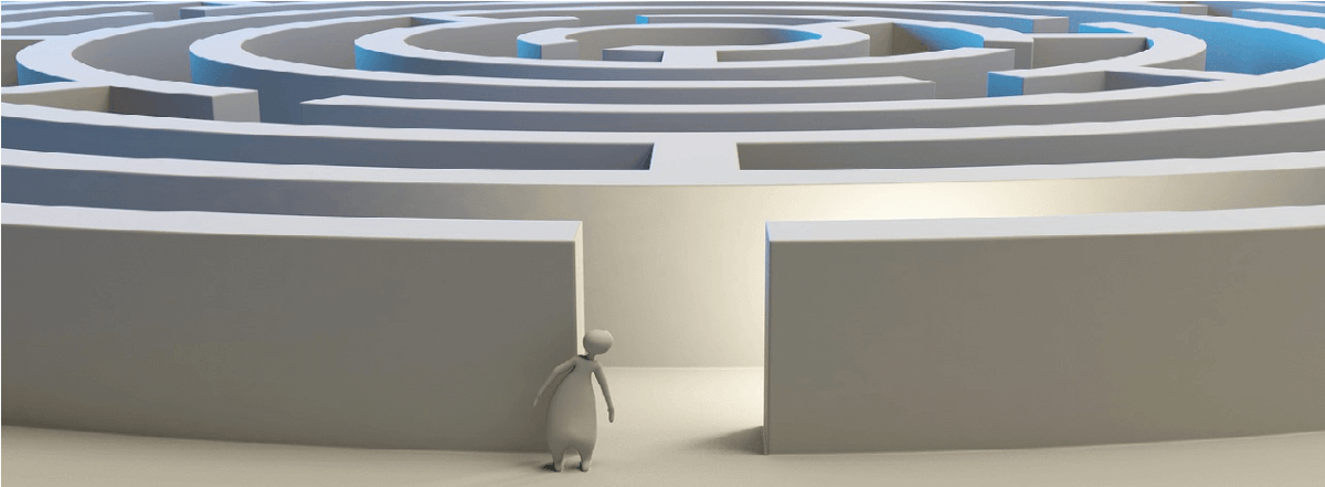 Image of a figure standing before a maze, used to represent the search for a WordPress theme