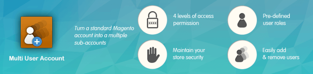 Banner describing the features of the CreativeMinds Multi User Account Extension for Magento