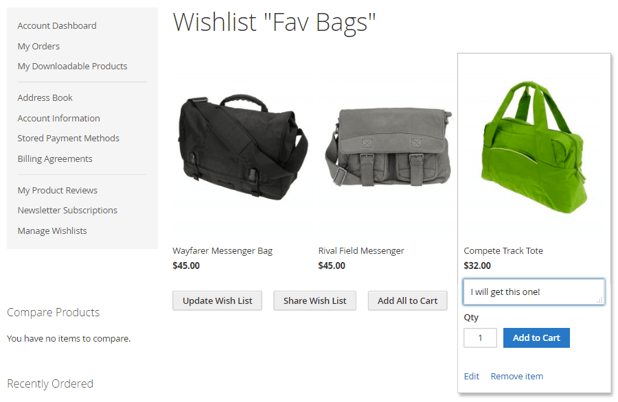 Customer view of their wish list where they can directly move a wishlist to cart