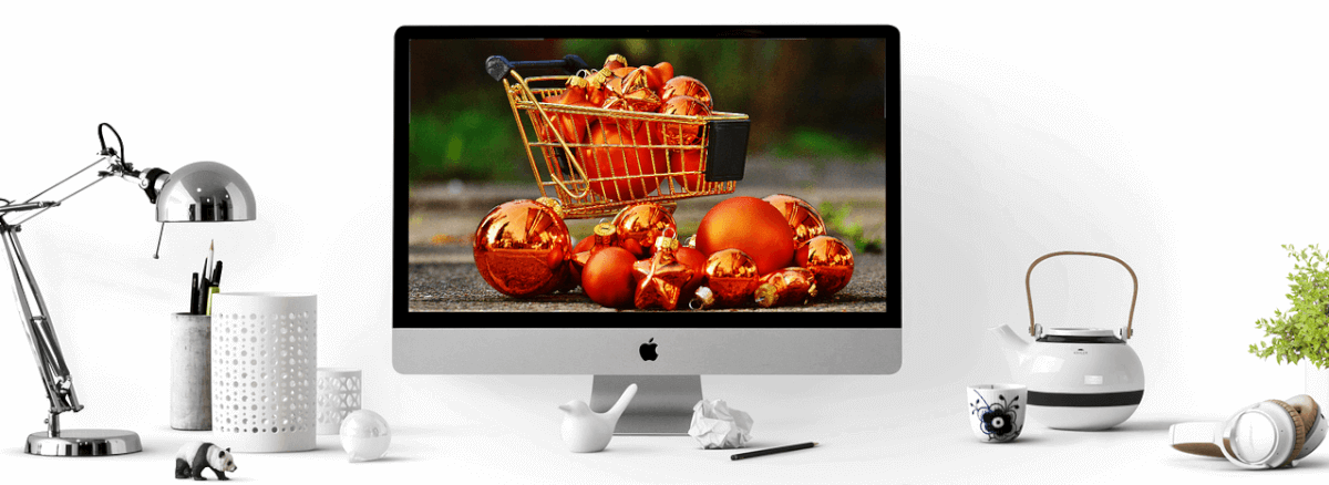 Image of a shopping cart on a computer screen, representing a Magento Marketplace