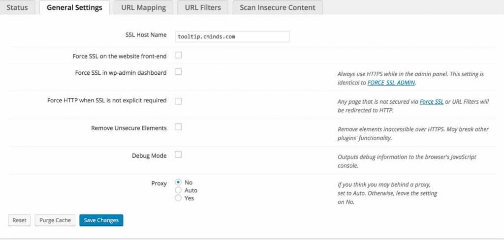 Plugin General Settings - mixed content
