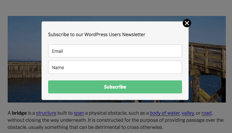 Newsletter form pop-up
