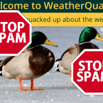 WeatherQuack logo with Spam signs