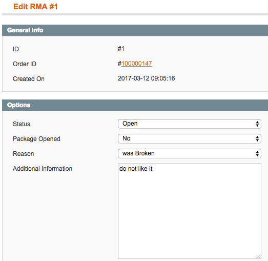 An RMA request editing screen from admin dashboard