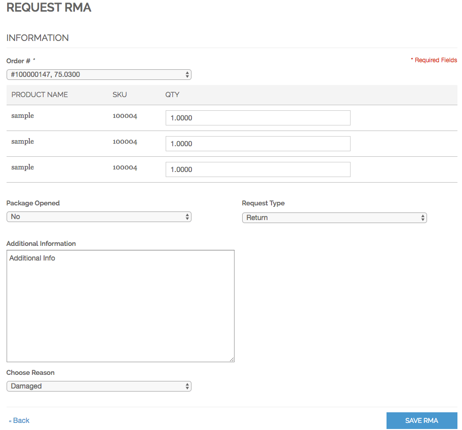 An RMA request form in customer account