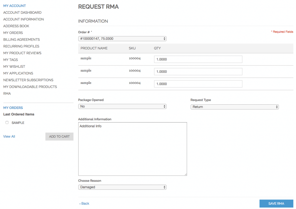 RMA request form on customer account