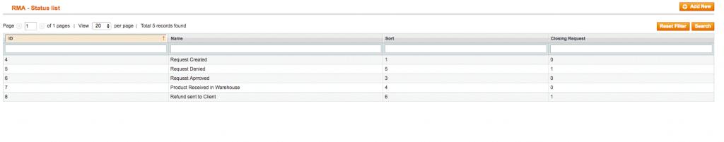 RMA setting - manage statuses