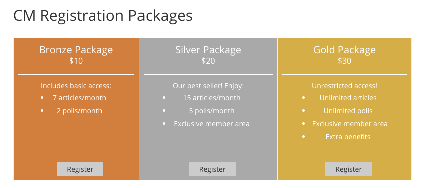 Sample packages with registration option