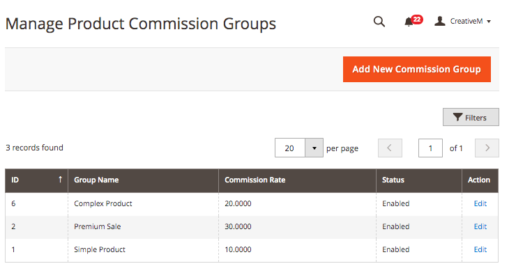Managing product commission group