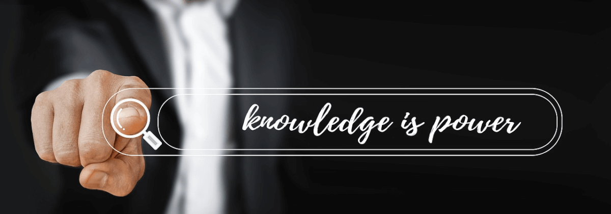 "Abstract image of an on-site search bar that reads ""knowledge is power"""