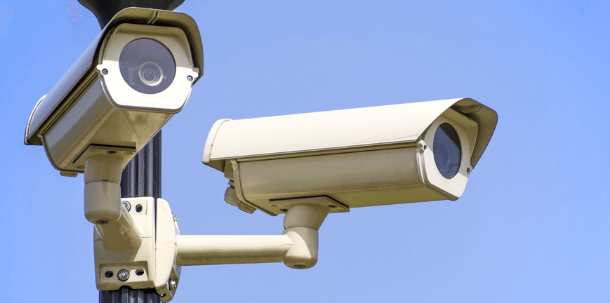 Image of security cameras, used to reinforce the importance of security during WordPress maintenance