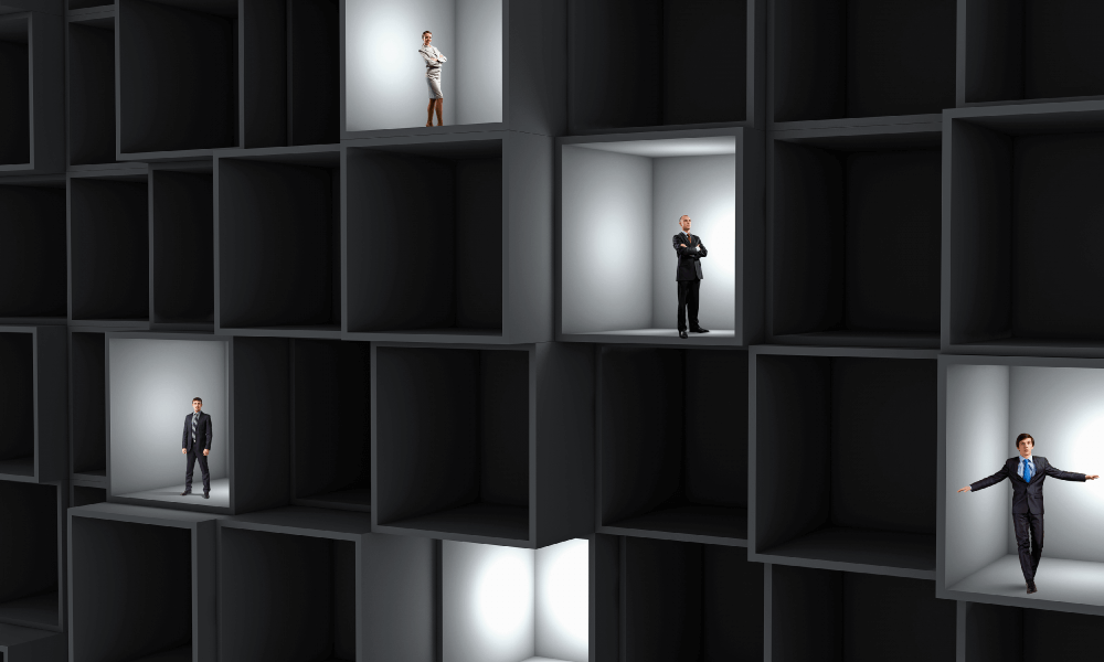 Image of business men and women segmented into different compartments to represent the separation of User Tiers