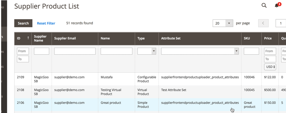 Image of a supplier's product list from the CreativeMinds supplier front-end dashboard extension for Magento
