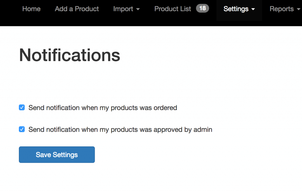Supplier notification settings