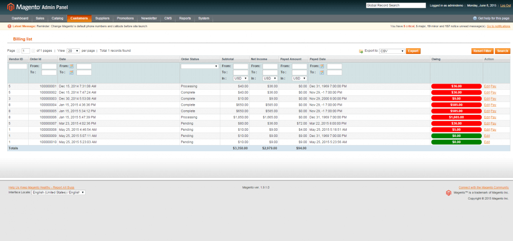 The Admin billing panel showing how much the supplier owes each of his Marketplace vendors