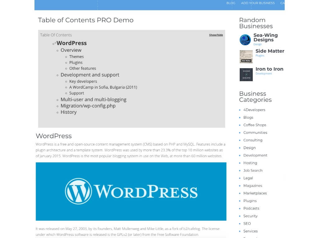 TOC Plugin – Table of Contents Plugin for WordPress by CreativeMinds