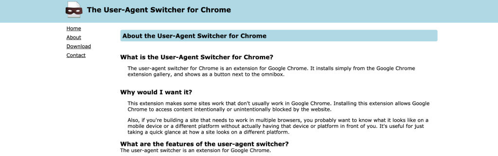 User-Agent Switcher - Top 10 Chrome Extensions for Magento - 10 Best Browser, Chrome Extensions for Magento eCommerce Users