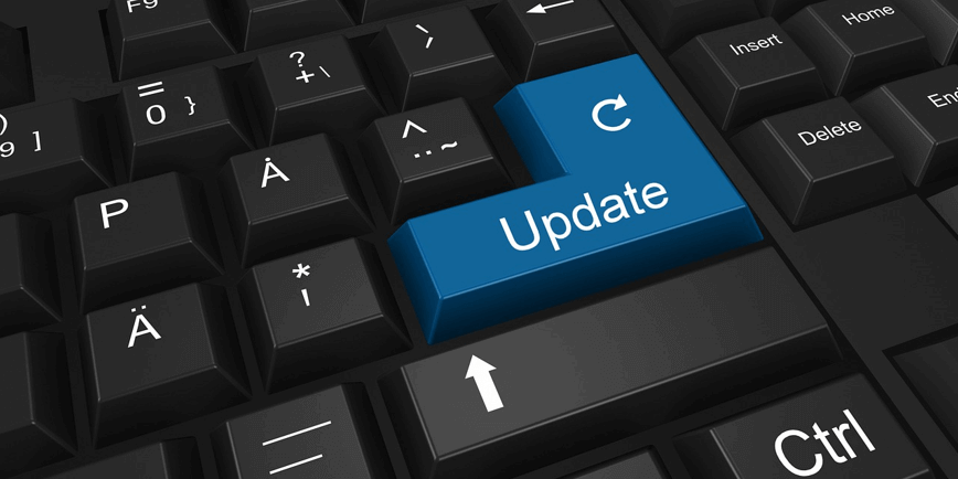 "Image of a keyboard with the word ""Update"" on a key WordPress maintenance"
