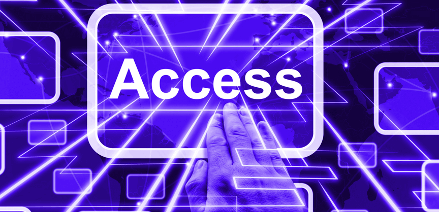 "Abstract image of a hand touching a button that reads ""Access"" to demonstrate WordPress users access to website functions"