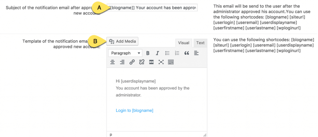 Settings for User approval email