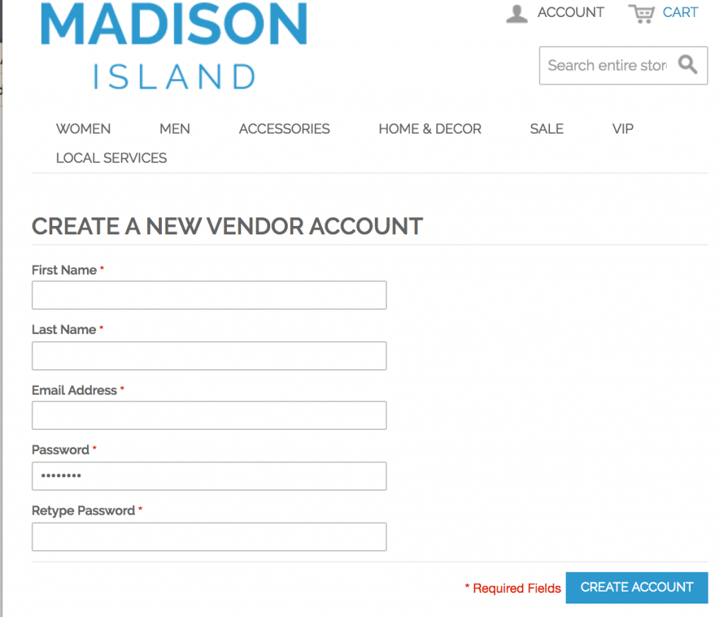 Vendor unique registration page