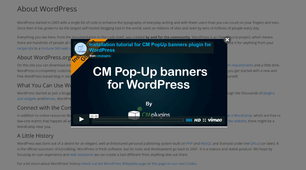 WPop #1 WordPress Popup Plugin – Pop anything on your site