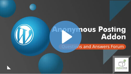 Posting QA Addon - Anonymous Users Can Now Publish Posts on CM Answers Forum Sites - Creative Minds Blog