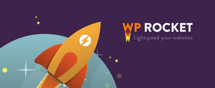 Brand logo for the WP Rocket WordPress plugin.