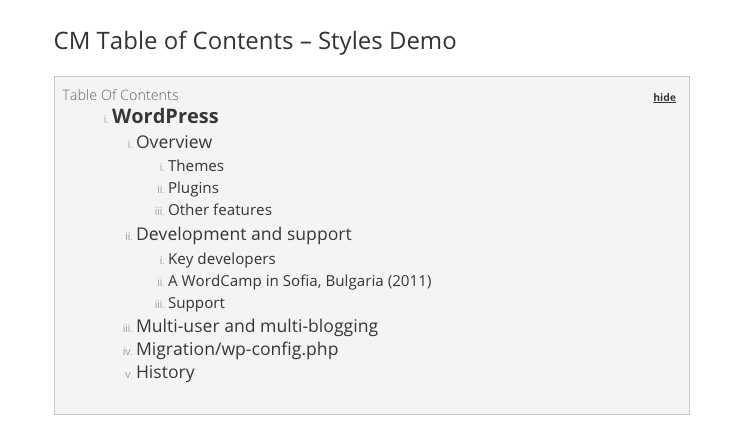 CM Table of Content - Styles Demo - Definitive List: The 5 Best Table of Contents WordPress Plugins