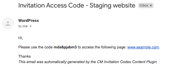 Notification sent by plugin