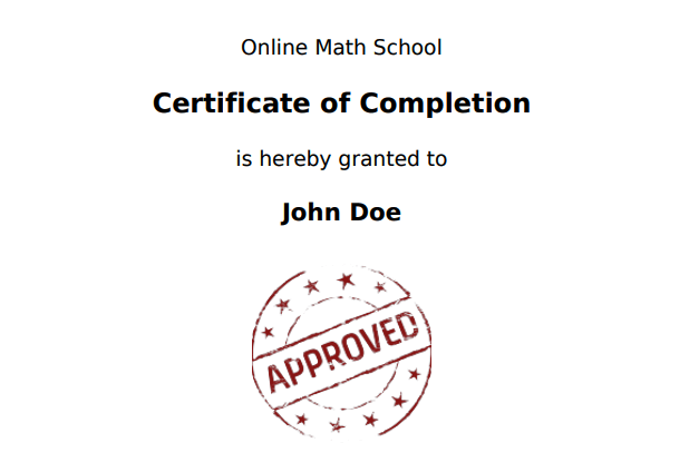 Certificate of quiz completion