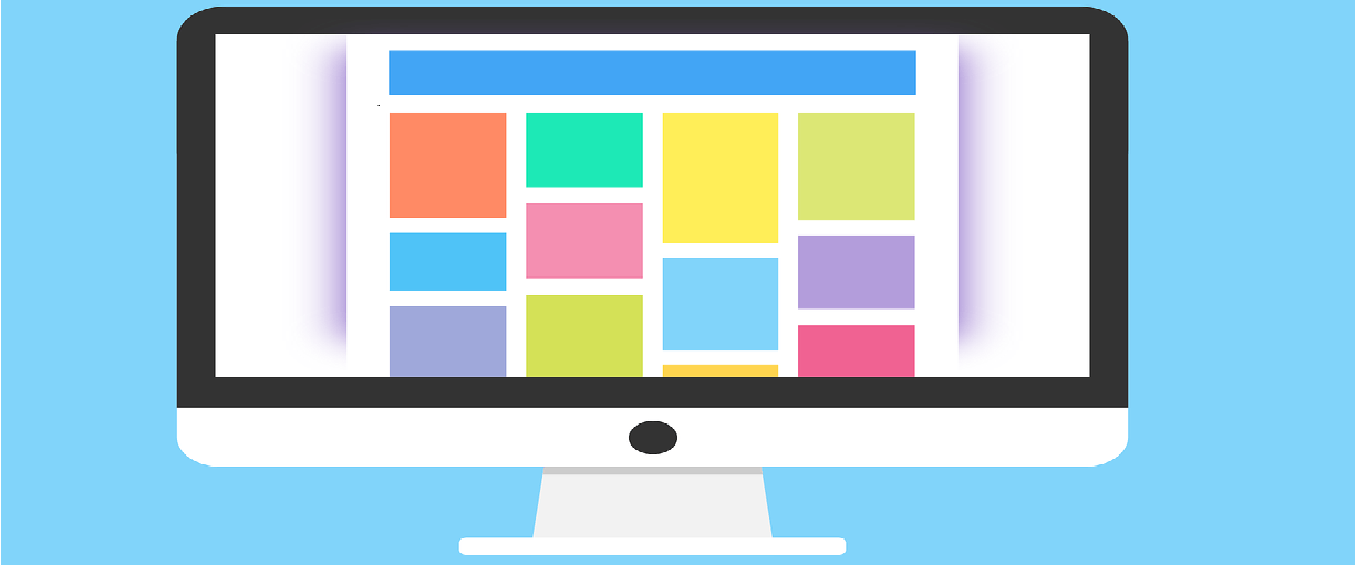 Graphic of a computer screen with colorful boxes displayed across a web page