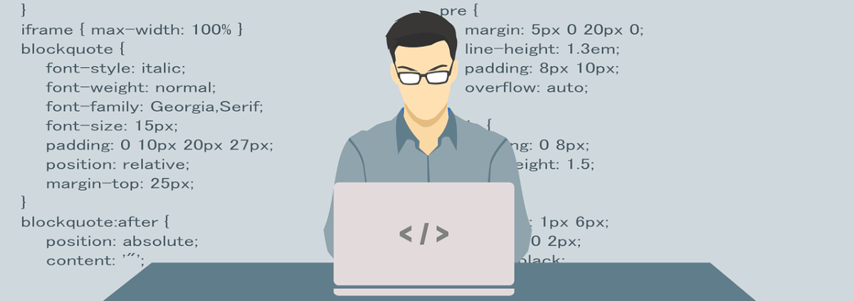 Cartoon image of a web developer working at a laptop, with a backsplash of the code he works on