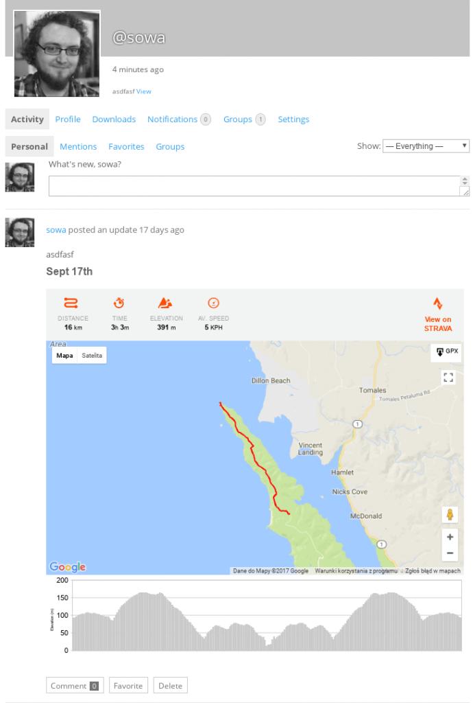 Strava Posting in User Profile